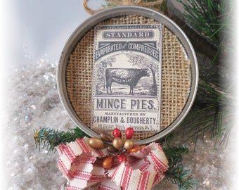 Farm House Mason Jar Lid Christmas  Ornament