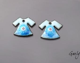 Enamel on copper - plated enamel sky pair / blue provence - mouse - BO - Gaelys charm