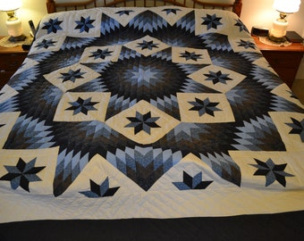 "Amish Improved Broken Star King/Lg Queen quilt, 104"" x 118"""