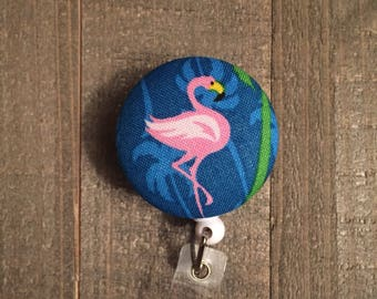 Pink Flamingo Badge Reel - Floral - ID Badge Holder - Name Badge - Nurse Badge - RN Badge