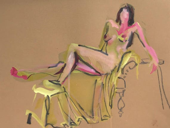 Nude painting- Original watercolor painting of Nude #1433 by Gretchen Kelly