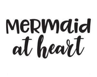 Mermaid at Heart Vinyl Car Decal Bumper Window Sticker Any Color Multiple Sizes Jenuine Crafts