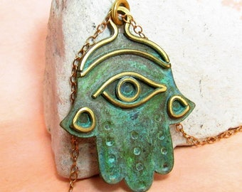 OOAK Verdigris Hamsa Necklace, Green Patina Hand Of Fatima Pendant Necklace, One Of A Kind Exotic Metalsmith Jewelry