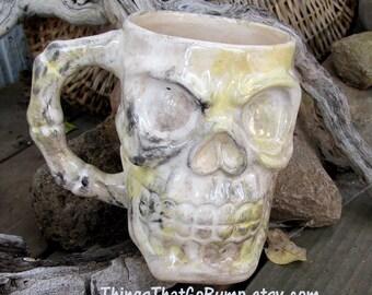 choose color Big 32 ounce Skull Mug pottery stein xxl mug Made To Order skulls horror fan zombie rock custom skull mug beer stein coffee mug