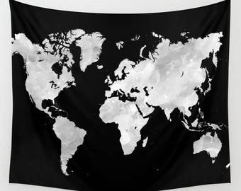 Wall Tapestry Wall Hanging Sofa Throw Design 69 or 70 World map black grey white Home Decor art L.Dumas