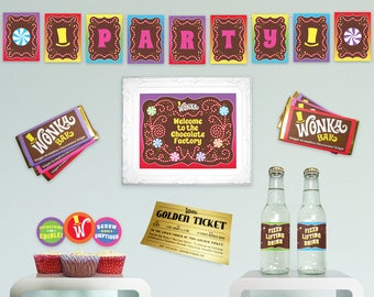 Willy Wonka birthday party decorations DiY printable party kit basic essentials complete Chocolate Factory party kit MuLTiCoLoR