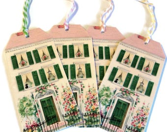 2 Cottage Chic Home Gift Tags, Housewarming gift tags, Party Favor Tags, Takuniquedesigns