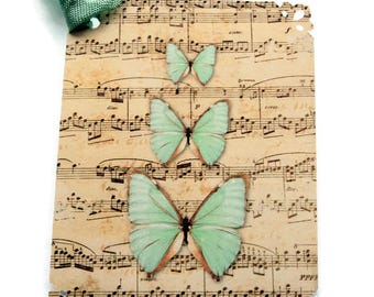 8 Butterflies and Musical Notes Gift Tags, Hang Tags,  Butterfly Party Favor Tags, Beige Mint Green, takuniquedesigns