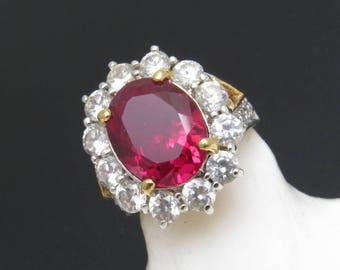 Vintage Sterling Ring Large Red Rhinestone R4876