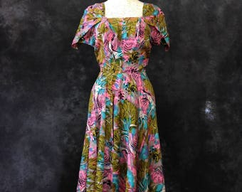 Vintage 1950's Nettie Rosenstein silk novelty print dress pink blue ochre