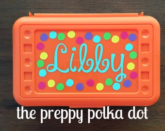 Personalized Polka Dot Pencil Box - Custom - Monogram- Glitter