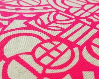 Organic Screenprinted Fabric: Circles in Neon Pink
