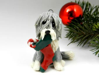 Bearded Collie Beardie Christmas Ornament Figurine Stocking Porcelain