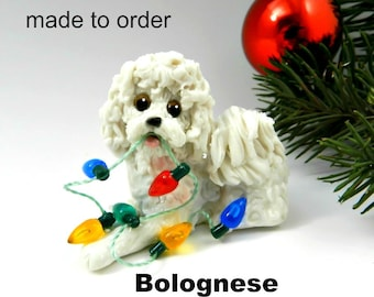 Bolognese Dog Made to Order Christmas Ornament Figurine in Porcelain