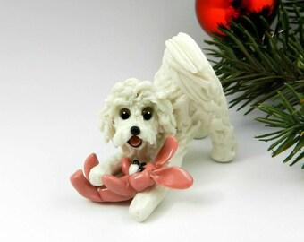 Cockapoo MaltiPoo White Christmas Ornament Figurine Toy Bunny Porcelain