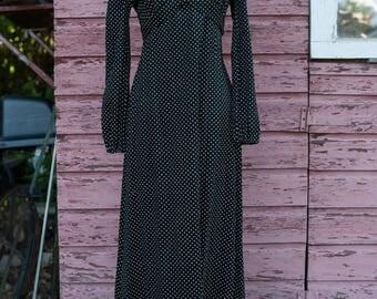 Vintage Gown - Black Polka Dots Ruffle
