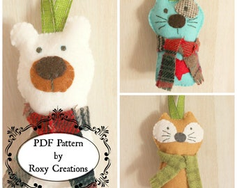 PDF felt sewing pattern fun animal Christmas tree ornaments