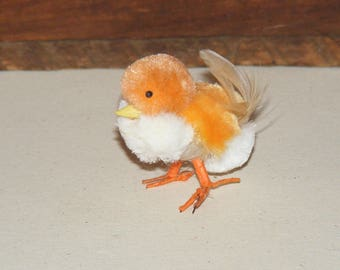 Vintage Orange and White Chenille Easter Chick Wire Feet