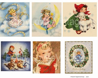 Angels 4 Digital Collage from Vintage Christmas Greeting Cards -  Instant Download - Cut Outs