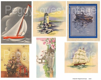 Nautical 1 Digital Collage from Vintage Greeting Cards - Instant Download - Cut Outs