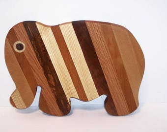 Elephant Cutting Board  handcrafted from Mixed Hardwoods