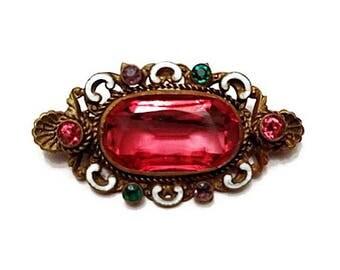 Ornate Czech crystal and enamel brooch - Victorian - Edwardian - Red