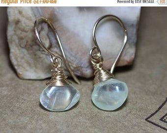 SALE Green Prehnite Earrings Light Green Gemstone Earrings Wire Wrapped Gold Earrings Luxe Rustic Jewelry