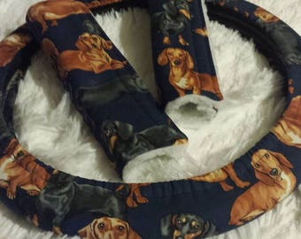 Darling Doxies! *  Steering Wheel Cover * Seat Belt Cover * Dearly Dachshunds! * See Image! * Wiener Dog Pup Puppy