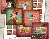 Gypsy Cowgirl, 1x1 Collage Sheet, Printable Images, Digital Download, 1x1 Inch Squares, Digital Squares, Horse Collage Sheet, Cowgirl Images