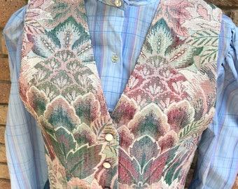 Vintage tapestry vest 90's pastel baroque 1990's ornate pastels