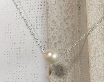 Floating Pearl Necklace, Minimal Necklace, Freshwater Pearl Necklace,  Sterling Silver, wedding gift, June birthstone 7mm & 11-12mm