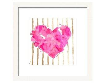 Watercolor Pink Heart Art Print-Pink Heart Art-Valentine Heart-Heart Wall Art- Heart Giclee-Valentine Heart Painting
