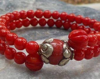 Red Coral Mala Bracelet- prayer beads- rosary - 54 beads