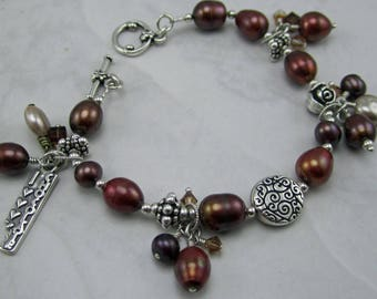 I Love Chocolate Pearl and Sterling Silver Bracelet