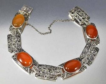Germany Silver Marcasite Carnelian Bracelet, Art Deco Bracelet, 935 Antique Silver Bracelet, Sterling Chalcedony Gemstone Marcasite Bracelet