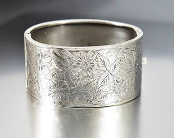 Antique Sterling Silver Bracelet, Flower Leaf Engraved Bracelet, Victorian Revival Wide Bracelet, England Art Deco Bangle, Hinged Bracelet