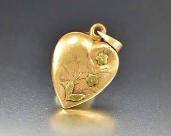 Antique 14K Rose Gold Puffy Heart Charm Pendant, Engraved Flower & Leaf Necklace Pendant, Love Token Victorian Fob Heart, Edwardian Pendant