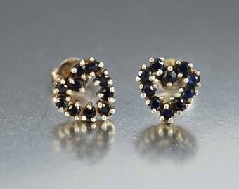 Vintage Heart Sapphire Earrings | Silver Stud Earrings | Natural Blue Sapphire Studs | Heart Stud Earrings | Vintage Sapphire Stud Earrings