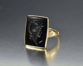 Gold Onyx Cameo Ring | 10K Yellow Gold Roman Soldier Ring | Black Onyx Intaglio Ring | Antique Ring | Signet Ring | Edwardian Ring