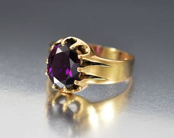 Antique Amethyst Ring | 10K Gold Victorian Ring | Antique Ring | Birthstone Ring | Wide Band Ring | Alternative Wedding Ring | Stacking Ring