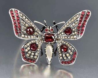 Antique Garnet Butterfly Brooch | Victorian Pearl Garnet Brooch | Silver Insect Brooch | Antique Bug Pin | Victorian Brooch | Large Brooch