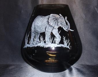 African Elephant,  Bayobab Tree, Safari Art,  Elephant Art, Etched Elephant, Wedding Gift, Home Decor, African Decor, Glass Elephant