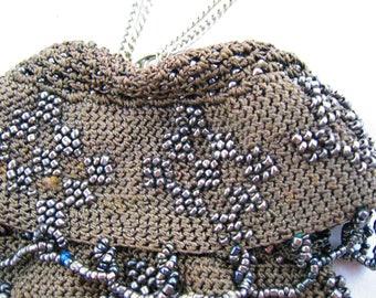 Beaded and crocheted Victorian handbag
