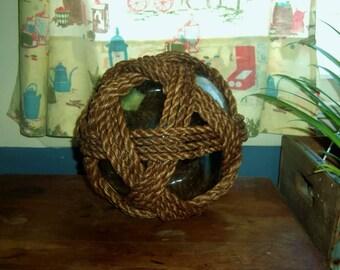 Fish Net FLOAT Buoy Rope Wrapped Aquamarine Glass vintage nautical maritime