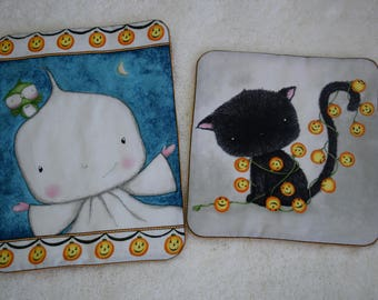 Halloween Mug Rugs Table Toppers Set of Two Trivets Coasters Halloween Decor
