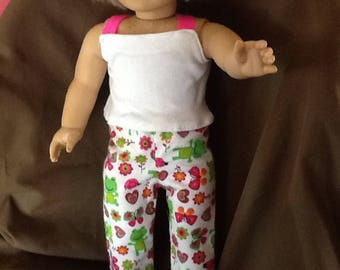 Handmade 18  Inch Doll Clothes / Frog Pajamas / Fits American Girl Dolls