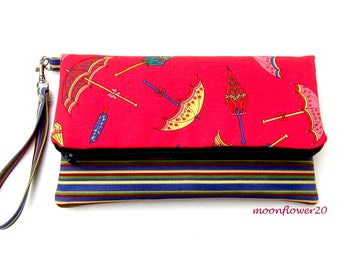 Red Umbrella and Stripe Foldover Clutch/Wristlet With Double Zipper Pockets for iPhone