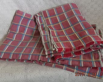 Old Vintage Pair Picnic Table Cloths Cotton Fabric 4.6 yds Red Plaid Oxford Cloth w/ Yellow & Blue Stripes Repurpose Upcycle Crafts Sewing