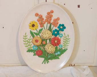 Vintage Ceramic Floral Plate Wall Hanging