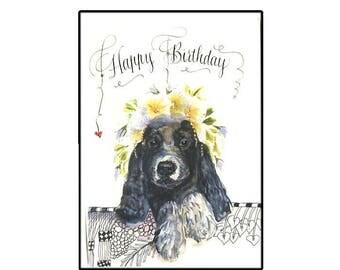 Cute Cocker Spaniel Puppy Birthday Card